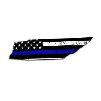 Tennessee Island Distressed Subdued US Flag Thin Blue Line/Thin Red Line/Thin Green Line Sticker. Support Police/Firefighters/Military