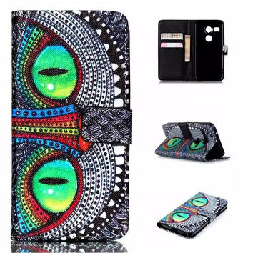 Grin Cat Leather Wallet creative case Cover for iPhone & Samsung Galaxy