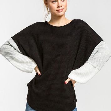 Color Block Baloon Sleeve Top - Black