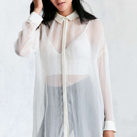 Silence + Noise Monique Mesh High/Low Maxi Shirt - Urban Outfitters