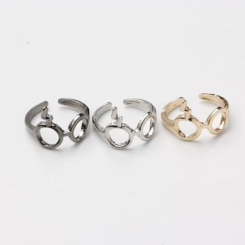 Black Silver Gold color Plated Harry Rings Magic Glasses For Potter Fans Boy Girl Fashion Punk Jewelry