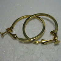 """1960's Goldtone Hoop Earrings, Squared/Rounded Tube Style,1.25""""  Clip-On Earrings with Screw Adjustment."""