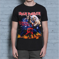 New Arrival Mens T-shirt Asian Size M-4XL t shirt Iron Maiden Metal Rock Band Beast black tee shirt brand Knitted clothing 1705