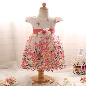 Princess Baby Girl Summer Dress For Baby Girl 1 Year Birthday Party Gown Dresses Butterflies Printed Cute Infant Formal Clothes