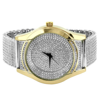 Iced Out Men's 2 Tone Dial watch Designer Iced Out 14k White Gold Finish Band