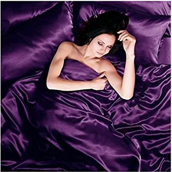 Satin 6 Pcs Silky Sexy Bedding Set Queen / King Duvet Cover Fitted Sheet & 4x Pillowcases 8 Colors (Queen, Purple)