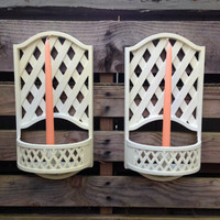 Vintage Burwood Country Cottage Lattice Candle Holders English Garden Accents Romantic Candlelit Garden Outdoor Candlelight Wall Sconces