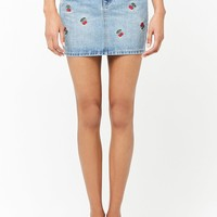 Cherry Embroidered Denim Skirt