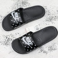 Nike Benassi Swoosh Black White Point Slide Sandal Slipper