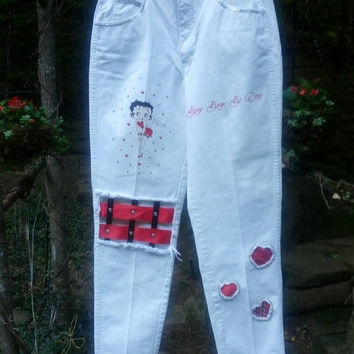 White Calvin Klein Betty Hoop Hand Painted Jeans Size 14
