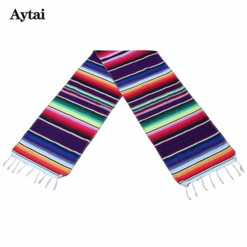Aytai Fiesta Themed Party Cinco De Mayo Celebration Party DIY Decorations Exican Serape Cotton  Table Runner