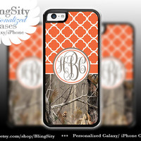 Monogram Iphone 5C case iPhone 5s  iPhone 4 case Ipod 4 5 Touch case Real Tree Camo Orange Quatrefoil Realtree Personalized