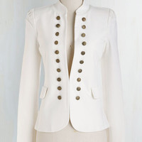 Military Mid-length Long Sleeve I Glam Hardly Believe It Blazer in White