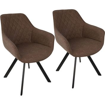 Outlaw Industrial Dining / Accent Chairs, Brown PU (Set of 2)