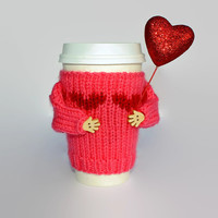 Valentine's cup sleeve. Travel mug cozy. Tropic pink. Red heart. Girlfriend gift. Knit mug sweater. Mug cuff. Starbucks cup holder.