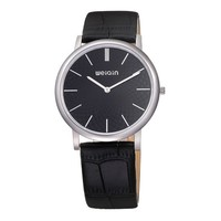 Men's Simple Design Round Face Thin Genuine Leather Strap Quartz Movement Dress Watch Black
