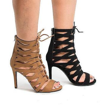 Alley By Delicious, Open Toe Gladiator Corset Lace Up Stiletto Heel Pumps