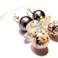 Handmade Jewelry Wire Wrapped Gray Painted & Glass Bead Drop Earrings