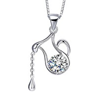 Women Fashion Pendant Necklaces Necklet Girl Sterling Silver 925 Crystal White Clear Zodiac Aquarius