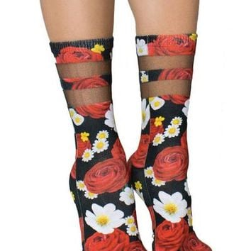"""Rosey Dreams"" Mesh Socks (Black/Red)"
