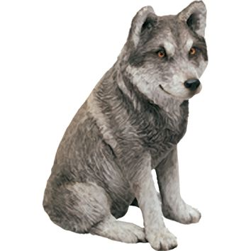 """Sandicast """"Mid Size"""" Sitting Gray Mexican Wolf Sculpture"""