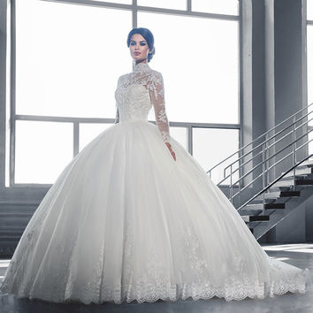 W3058 Luxury High Neck IIIusion Long Sleeve Lace Ball Gown Wedding Dresses 2016 See Through Back Wedding Gowns robe de mariag
