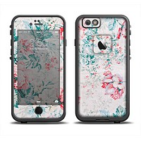The Coral & Blue Grunge Watercolor Floral Apple iPhone 6/6s LifeProof Fre Case Skin Set