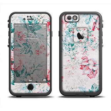 The Coral & Blue Grunge Watercolor Floral Apple iPhone 6 LifeProof Fre Case Skin Set