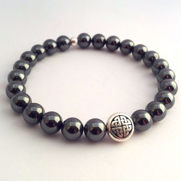 Celtic Hematite Bracelet Mens Gemstone Pewter Celtic Stretch Bracelet Celtic Knot Circle Bracelet Mens celtic Gemstone Bangle