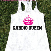 Cardio Queen Burnout Tank.Womens crossfit tank.Funny exercise tank.Running tank top. Bootcamp tank.Sexy Gym Clothing