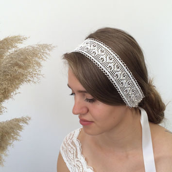 Bridal Wide Headband, Lace Headwrap, Pearl Hairwrap, Embroidered Hairband, Wedding Headpiece, Hair Jewelry, Bridal Headpiece, Women's Gift