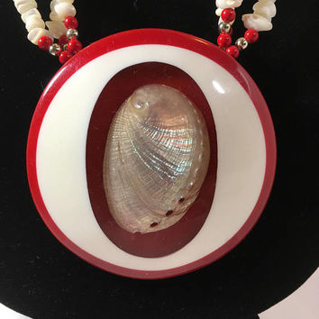 Mother of Pearl Shell Necklace - Red Beaded Floral and Seashell Necklace - Puka Shells - Authentic Seashell Pendant Necklace