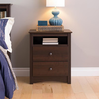 Ellsworth Espresso Tall 2-drawer Night Stand | Overstock.com Shopping - The Best Deals on Nightstands