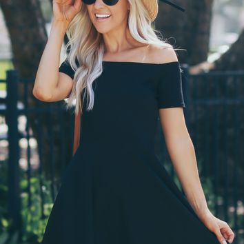 Off The Shoulder Fit And Flare Dress Black