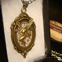 Clockwork Fairy - Flying Fairy with Gears Steampunk Pendant Necklace  (1816)