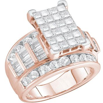 14kt Rose Gold Womens Princess Diamond Cluster Bridal Wedding Engagement Ring 2.00 Cttw