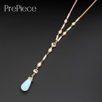PrePiece Gold Color Moonstone Imitation Pearl Pendant Beaded Necklace 2017 New Design European Jewelry For Women Bijoux PN0671