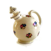 Vintage China Cruet- Moriyama Porcelain- Made in Japan- 1940's-Pink and Blue Flowers-Round Ball  with Stopper-Cottage Chic Home Decor