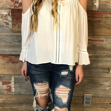 Gathering Glances Cold Shoulder Top: White