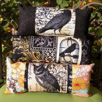 Gothic Ravens and Floral Owl Mini Lumbar Pillow Set of Three