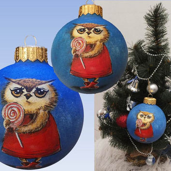 Christmas Ornament Christmas ball Bauble Hand Painted Owl Glass Christmas Decoration New year Christmas Craft Gift Personalized Custom Order