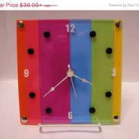 Time For A Sale wall shelf clock bright colorful stripe with or without stand multicolor ID SS 2