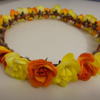 Summer Inspired Yellow and Orange Rose Floral Crown