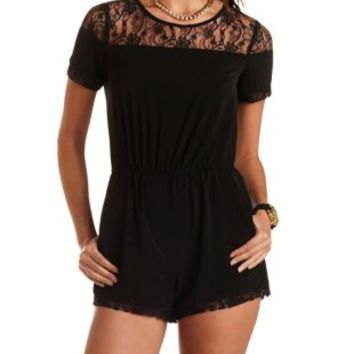 Short Sleeve Lace-Trim Romper by Charlotte Russe
