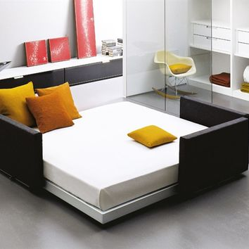 Convertible bed with upholstered headboard FLIPPER by EmmeBi | design Pietro Arosio