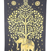 Elephant Tree Tapestry ,Good Luck White Elephant Tapestry , Hippie Gypsy Wall Hanging , Tree of Life Tapestry , New Age Dorm Tapestry (Multi/Black) (Black/Gold)