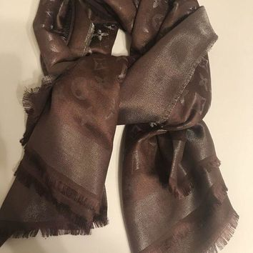 VONEIR6 Louis Vuitton? Monogram Silk/Wool Navy Chocolate Shine Scarf/Shawl with box!