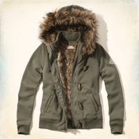 Faux Fur-lined Toggle Hoodie