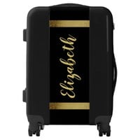 Name with faux gold ribbons on black bold letters luggage