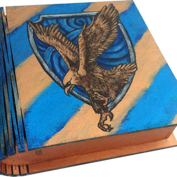 Ravenclaw Book box Hand Painted Harry Potter Hogwarts small Jewelry box Wizard World Magic Keepsake Box Bronze Blue Gift Wedding Art Rowling